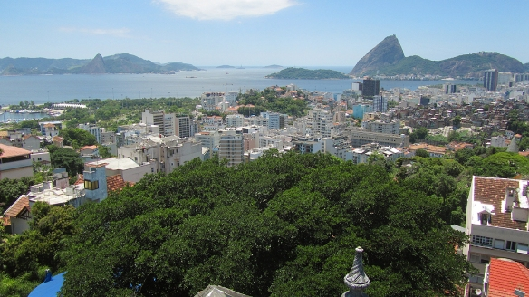 View over Rio and sugarleaf mountaing from Parque das ruinas in Santa Teresa