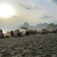 Foggy sunset in Ipanema