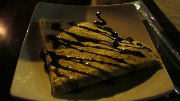Yummy chocolate, banana and coconut crepe!