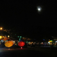 Full moon and colorful umbrellas!