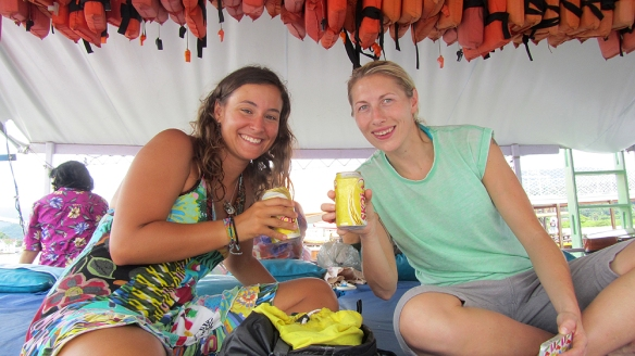 Me and Tracy happy with our beers at the boat :)