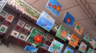 Visited a cultural house, where there were hanging paintings made by kids in kindergarden. So sweet.