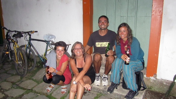 The last minutes in Paraty before taking the night bus. We asked this other girl if she could take a picture of us, but she wanted to be in it. Haha. :)