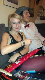 Tove with my christmas gift for her :) Two bracelets.. hehe