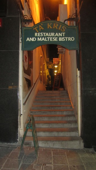 The entrance to the restaurant, it's in Sliema close to Zara.