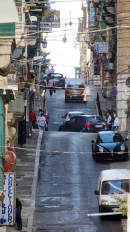 Road in Valetta. Yes, there are quite many hills up and down!
