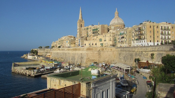 View over the ferry terminal in Valetta, and the wall were we were sitting before