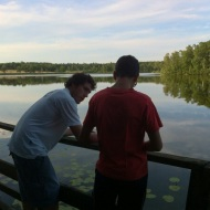 Jose and Duilio by the lake