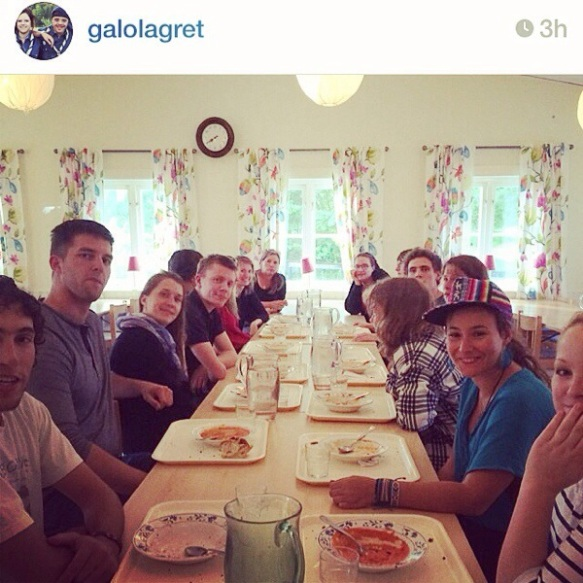 The leaders having our first meal together before the confirmands arrived to the camp