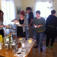 The leaders having breakfast (first weekend only for leaders)