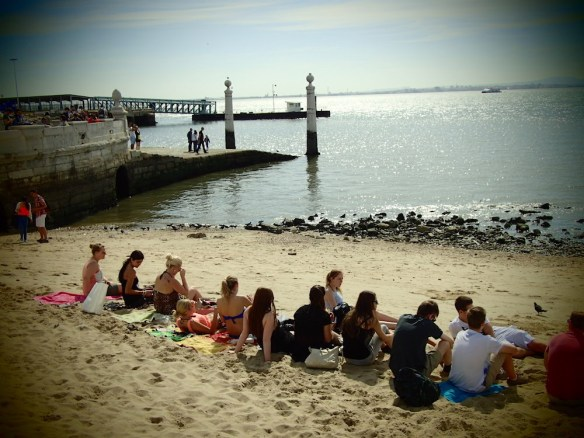 Tourists enjoying the small city beach :)