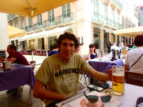 "At café Vitoria, enjoying or ""medium sized beer"" :)"