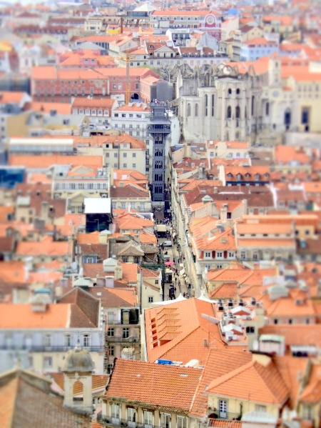 View over Elevador Santa Justa from the hilltop