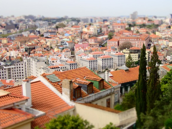 View over the orange roof tops in Lisboa