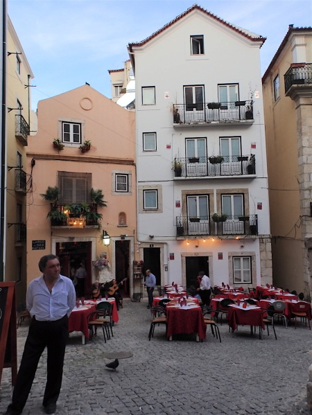 In Alfama, the typical square where there are nice restaurants with fado.... And where they never even intended to invite us in..