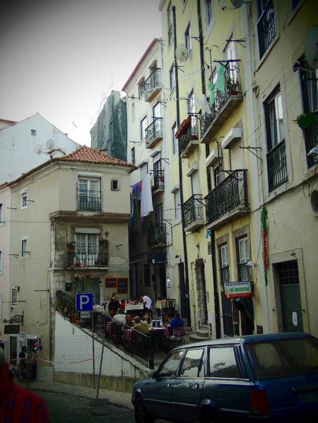 Alfama, narrow streets and restaurants or bars in every corner