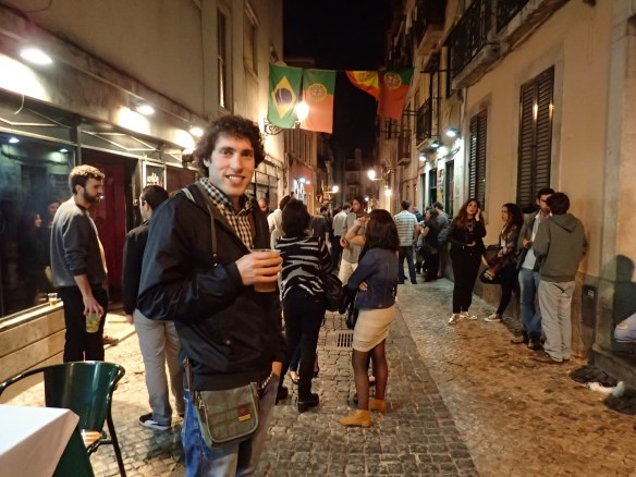 In the lively streets of Bairro Alto at night