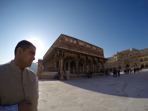 My Guide in front of a building with a mix of Hindu and Muslim architechture