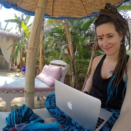 Enjoying my free time at the fake beach, writing for the blog