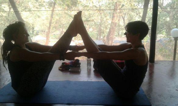 Me and Tine doing yoga