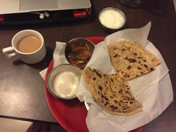 Indian breakfast - Aloo Paratha. Spicy!!!