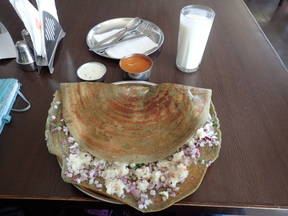 Pesarattu Mla Dosa - made with whole green gram and stuffet with nutruios upma.
