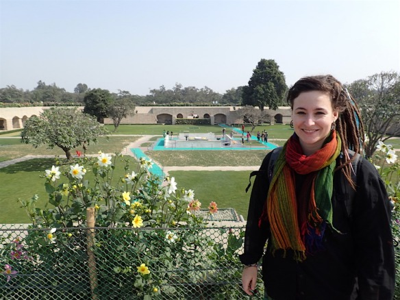 In the gardens of Raj ghat with Ghandis memorial stone behind me
