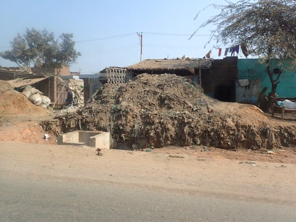 Piles of dust along the road