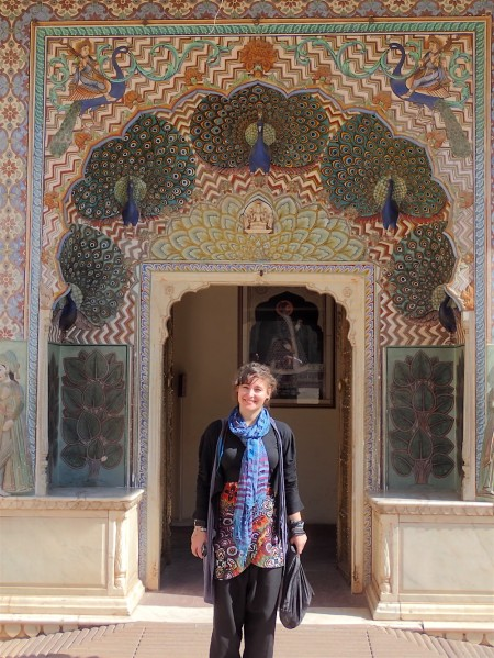 In one of the peacock doors in the palaces courtyard