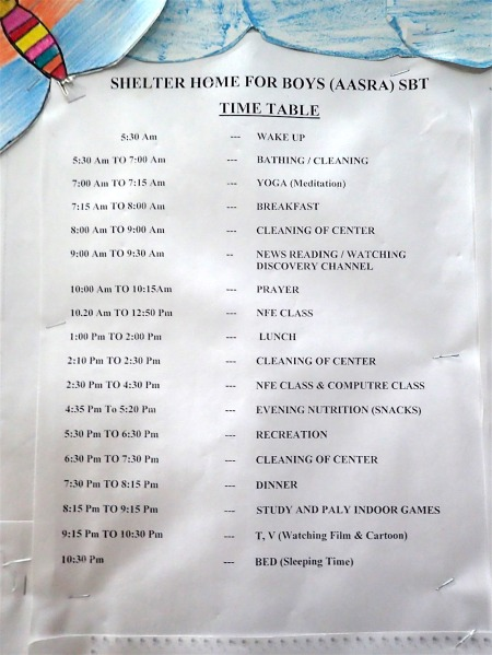 The day schedule at the shelter home