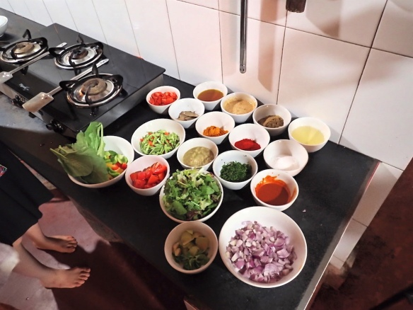 Preparations for the cooking class - so many nice vegetables!!