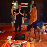 Preparing the Saturdays fire ceremony and birthday celebration to the Guru
