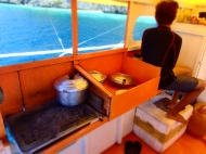 Kitchen area at the boat
