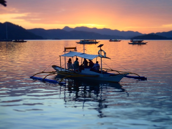 Beautiful sunset in Coron