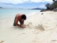 Duilio making sand castles...