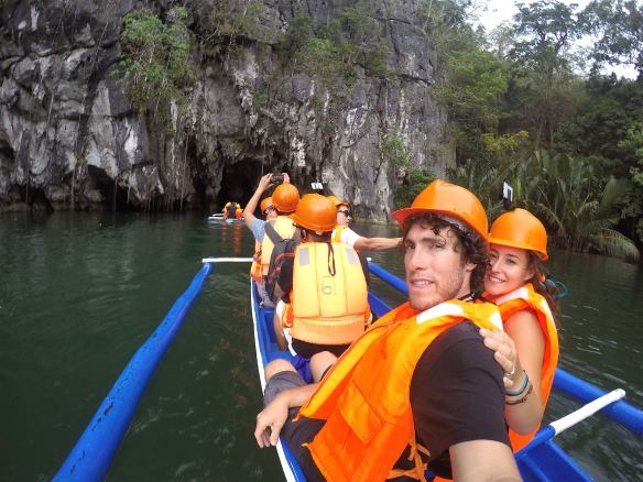 In the boat on our way into the underground river tour!