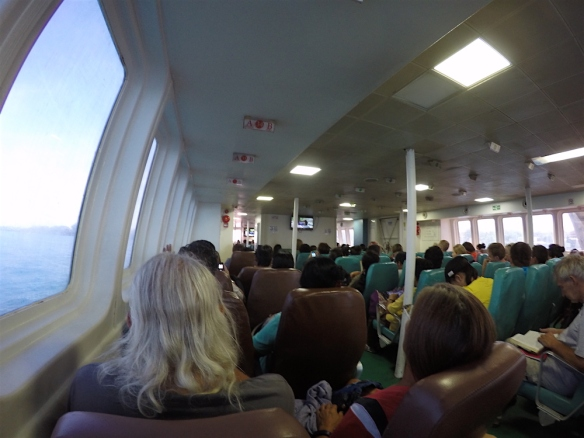 The ferry from Dumaguete to Tagbilaran - big and comfortable!! We got our own seats, they where showing a movie and selling some snacks.. very nice!