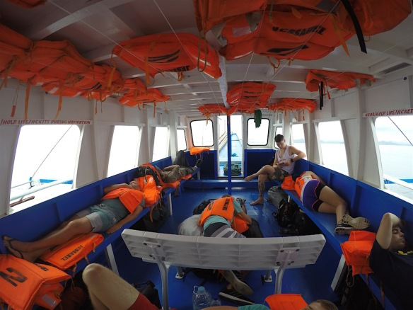 Everyone sleeping on the boat from Coron to el Nido
