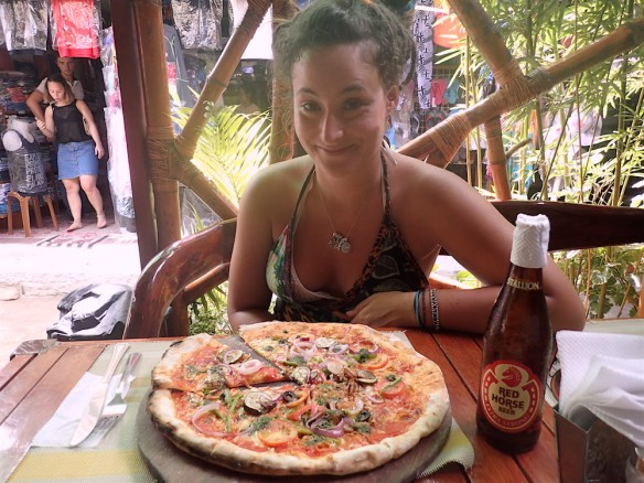 Me with my very tasty vegetarian pizza!