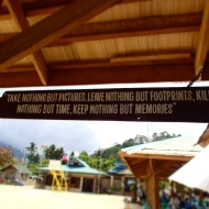 The words of wisdom at the entrance of the national park