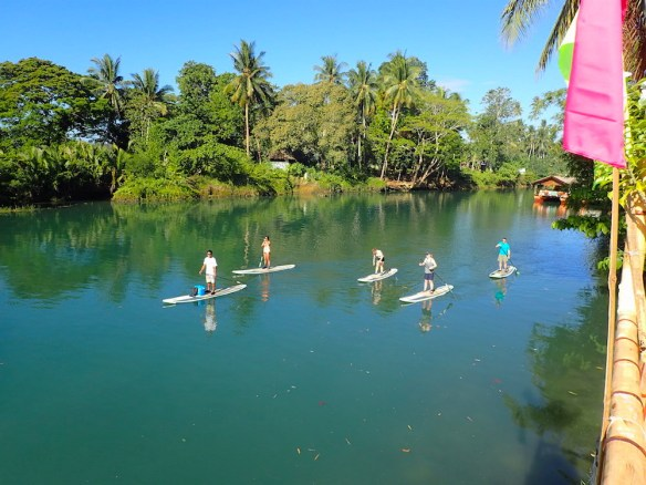 some people doing stand up paddle around 8am on the loboc river