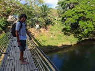Duilio on the bamboo bridge