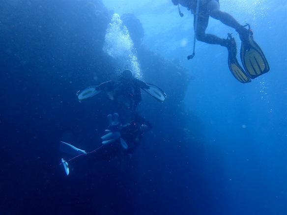 The dive master holding the girl by her tank so she wouldn't go deeper than him (then his dive watch doesn't help!)