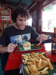 Hahah... Duilio and his food-faces. :) Having a nice home-made hambuger at Coco Loco!