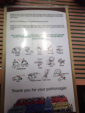 The café we went to was for hearing impaired, so they showed sign language on the menu, cool :)